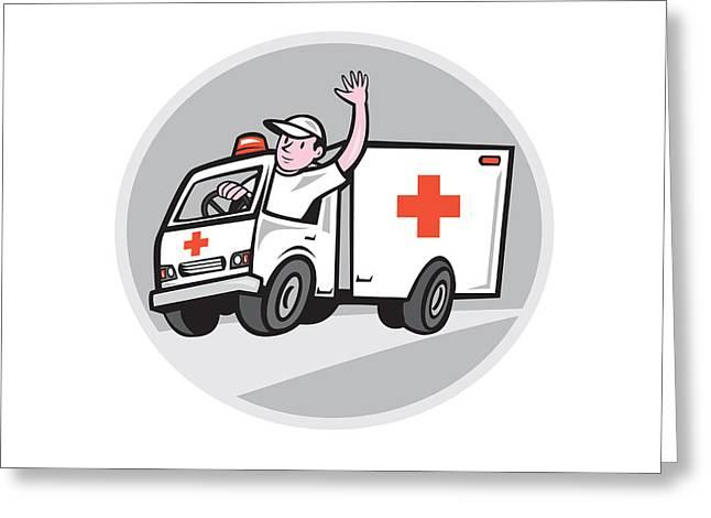 Ambulance Greeting Cards - Ambulance Emergency Vehicle Driver Waving Cartoon Greeting Card by Aloysius Patrimonio