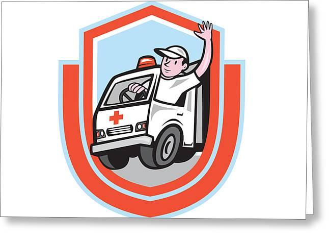 Ambulance Greeting Cards - Ambulance Emergency Vehicle Driver Waving Shield Cartoon Greeting Card by Aloysius Patrimonio