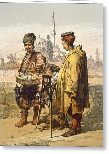Seller Drawings Greeting Cards - Ambulant Snack Sellers, 1865 Greeting Card by Amadeo Preziosi