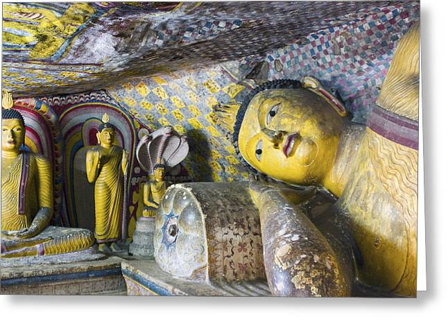4 Aces Photographs Greeting Cards - Dambulla Golden Temple  Cave no. 4 Greeting Card by Maria Heyens
