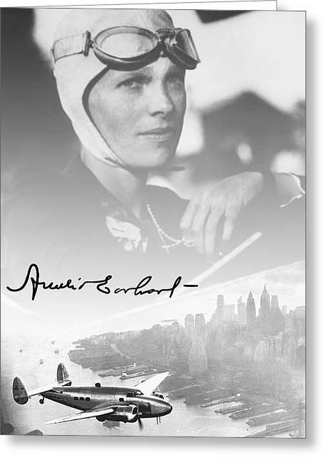 Airplane Mixed Media Greeting Cards - AMELIA and LOCKHEED ELECTRA Greeting Card by Daniel Hagerman