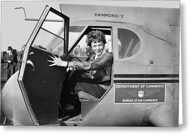 Jackets Greeting Cards - Amelia Earhart - 1936 Greeting Card by Daniel Hagerman