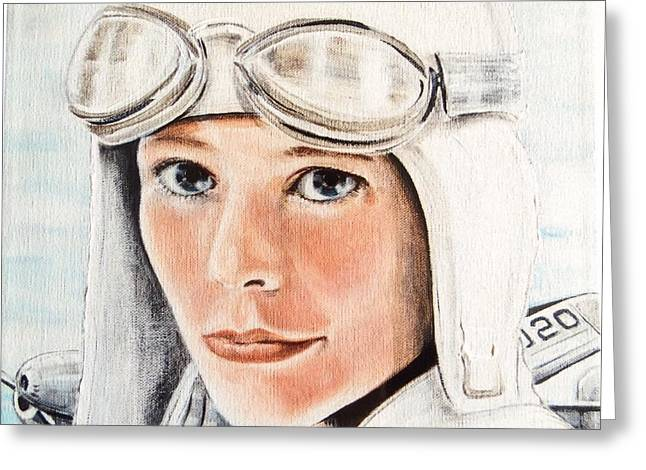 Liberation Greeting Cards - Amelia Earhart Greeting Card by Barbara Chase