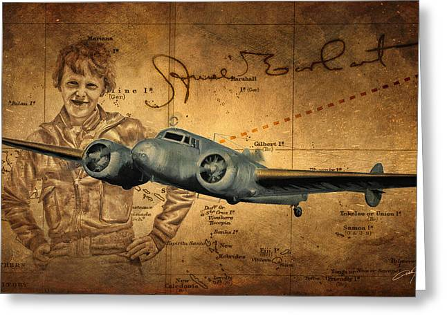 Mystery Digital Greeting Cards - Amelia Earhart Greeting Card by Dale Jackson
