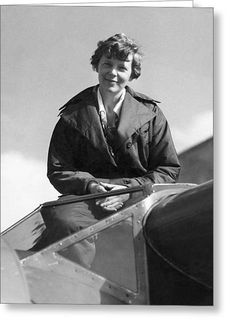 Amelia Earhart In Cockpit Greeting Card by Underwood Archives