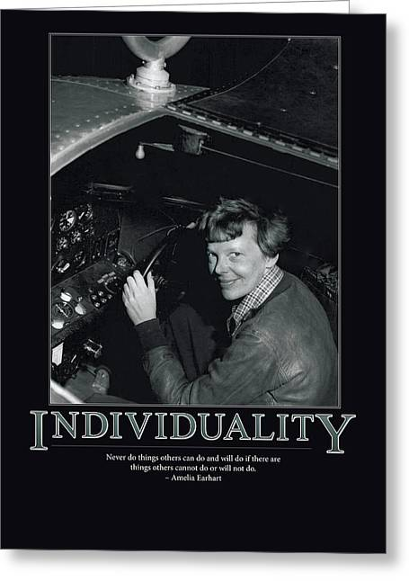 Individuality Greeting Cards - Amelia Earhart Individuality  Greeting Card by Retro Images Archive