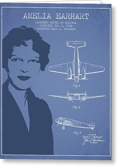 Amelia Earhart Lockheed Airplane Patent From 1934 - Light Blue Greeting Card by Aged Pixel