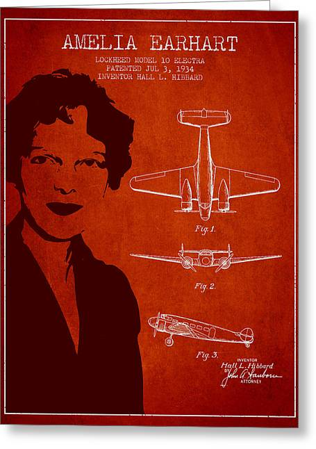 Technical Greeting Cards - Amelia Earhart Lockheed Airplane patent from 1934 - Red Greeting Card by Aged Pixel
