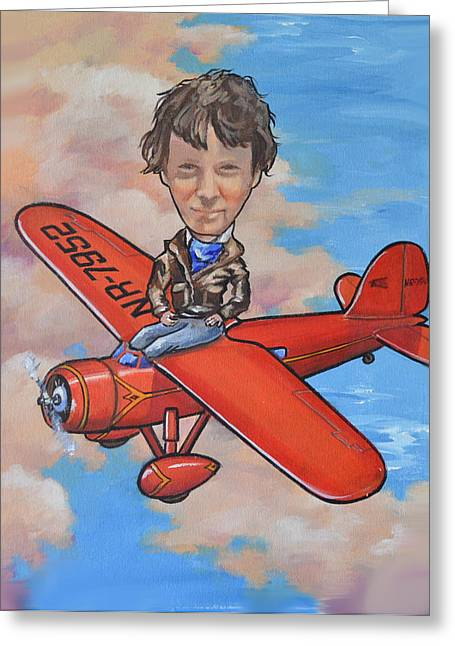 Murray Mcleod Paintings Greeting Cards - Amelia Earhart Greeting Card by Murray McLeod