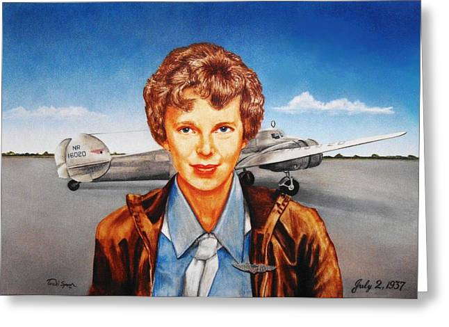 Aviator Drawings Greeting Cards - Amelia Earhart Greeting Card by Todd Spaur