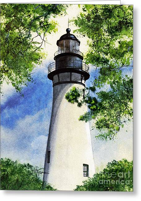 Historical Images Paintings Greeting Cards - Amelia Island Lighthouse Greeting Card by Diana  Tyson