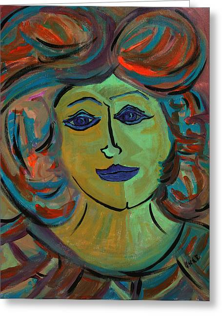 Portraits Paintings Greeting Cards - Amelia  Greeting Card by Oscar Penalber