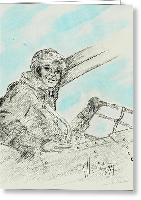 Famous Aviators Greeting Cards - Amelias Ghost Greeting Card by P J Lewis