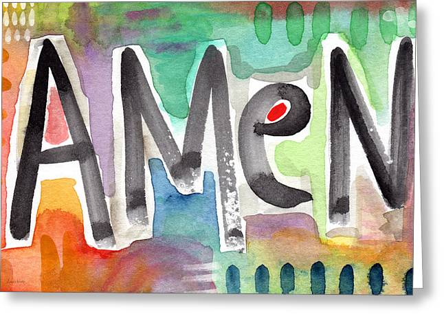 Inspirational Prayers Greeting Cards - AMEN- colorful word art painting Greeting Card by Linda Woods