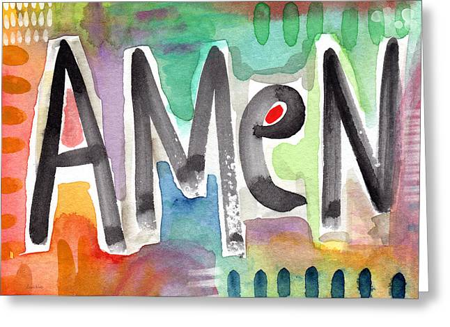 Amen Greeting Card Greeting Card by Linda Woods