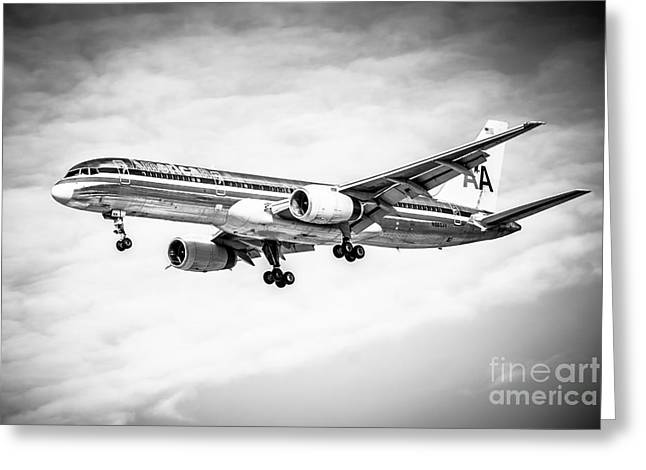 Landing Jet Greeting Cards - Amercian Airlines 757 Airplane in Black and White Greeting Card by Paul Velgos