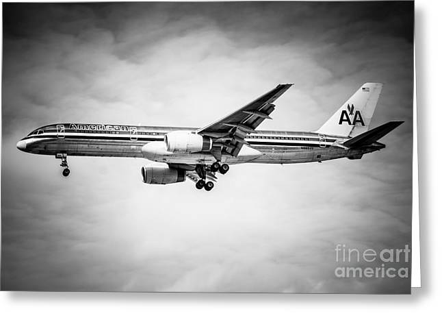 Editorial Greeting Cards - Amercian Airlines Airplane in Black and White Greeting Card by Paul Velgos