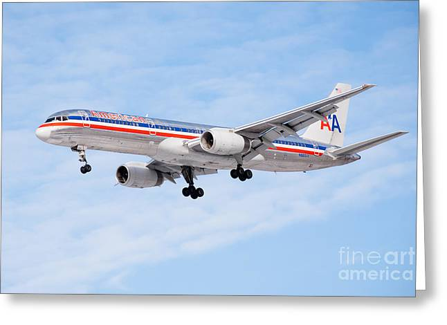 Landing Airplane Greeting Cards - Amercian Airlines Boeing 757 Airplane Landing Greeting Card by Paul Velgos