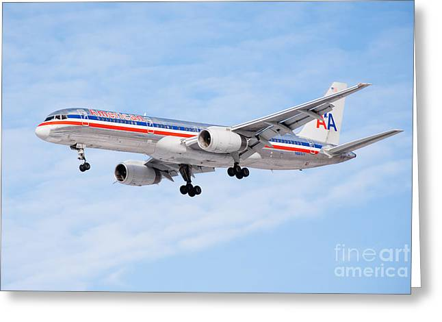 Amercian Airlines Boeing 757 Airplane Landing Greeting Card by Paul Velgos