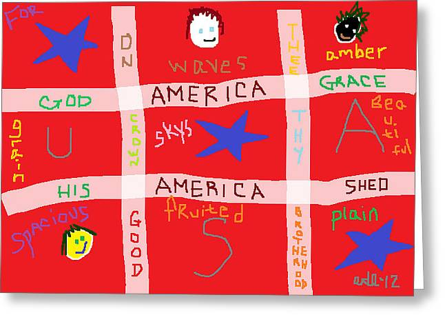 Conservative Greeting Cards - America America Greeting Card by Anita Dale Livaditis