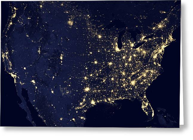 Planet Earth Photographs Greeting Cards - America at Night Greeting Card by Adam Romanowicz