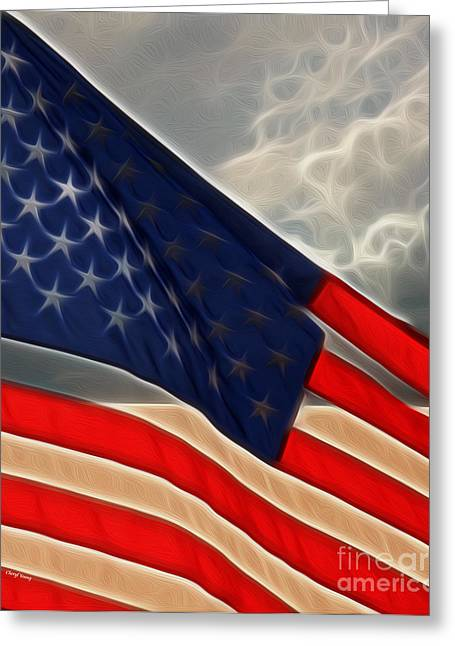 Betsy Ross Greeting Cards - America Greeting Card by Cheryl Young