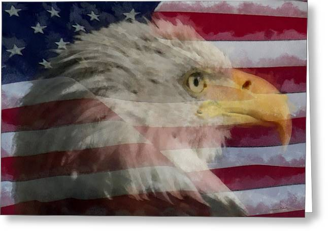 Eagle And Flag Greeting Cards - America Greeting Card by Ernie Echols