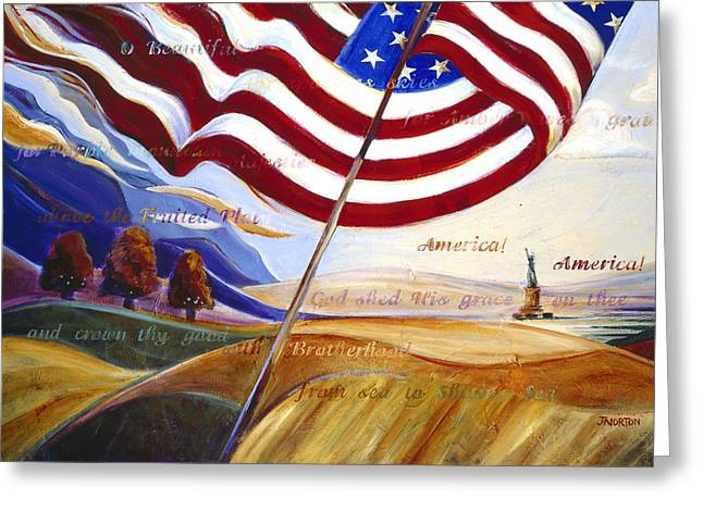 Patriotic Art Greeting Cards - America Greeting Card by Jen Norton