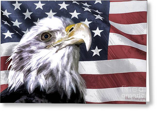 Eagle With Red Eye Greeting Cards - America Greeting Card by Linda  Blair