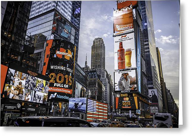 Times Square Pyrography Greeting Cards - America Loves Greeting Card by Tony James