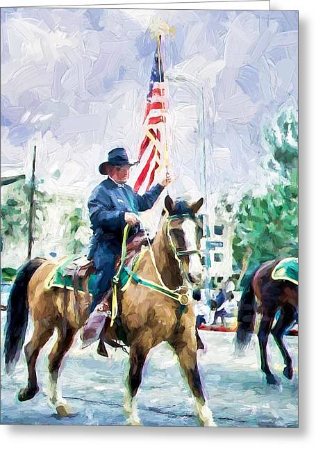 Ike Krieger Greeting Cards - America on Parade Greeting Card by Ike Krieger