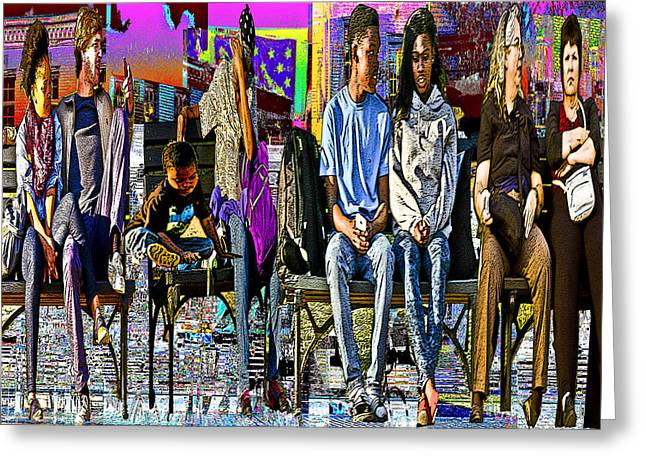 Race Relations Greeting Cards - America on the Bench Greeting Card by Keven Reynolds