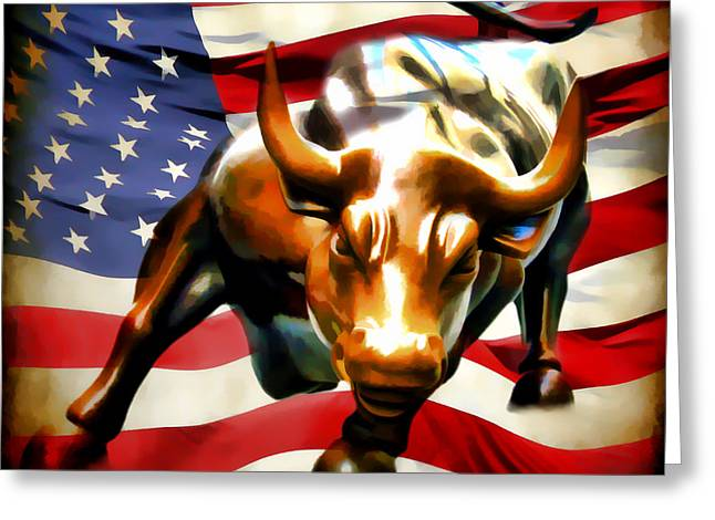 Stockbroker Greeting Cards - America Taking Charge Greeting Card by Athena Mckinzie