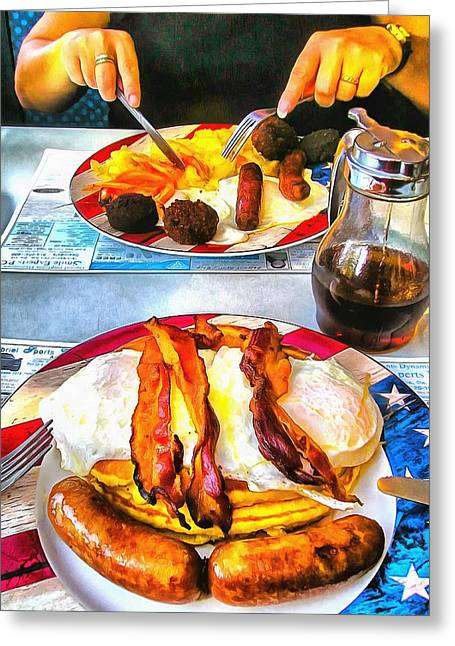 Over Easy Greeting Cards - American Breakfast in New York City Greeting Card by Mick Flynn