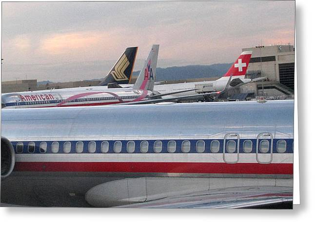 Jet Pyrography Greeting Cards - American Airline Jets Greeting Card by Russell Einhorn