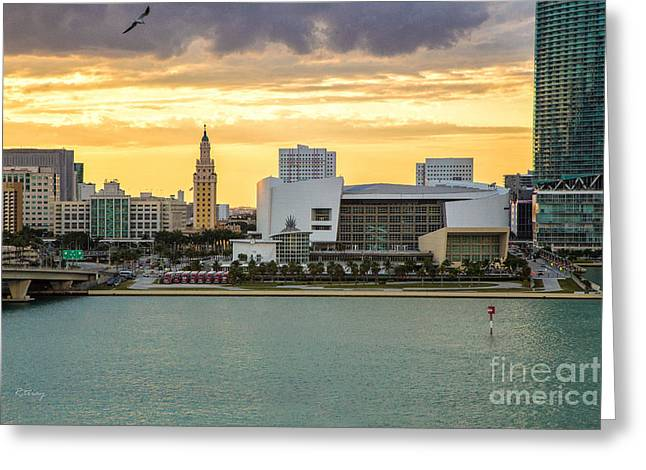 American Airlines Arena Greeting Cards - American Airlines Arena and the Iconic Freedom Tower Greeting Card by Rene Triay Photography