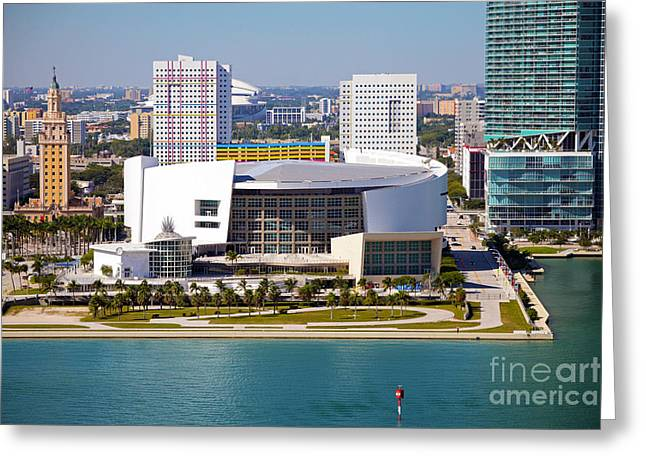 Dwayne Wade Greeting Cards - American Airlines Arena Greeting Card by Rick Bravo