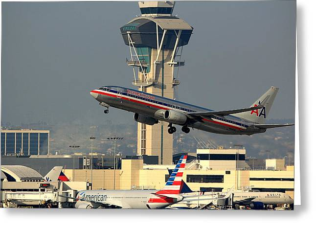 Airplane Pyrography Greeting Cards - American Airlines Boeing 737 N944AN Greeting Card by Jason  Sewell