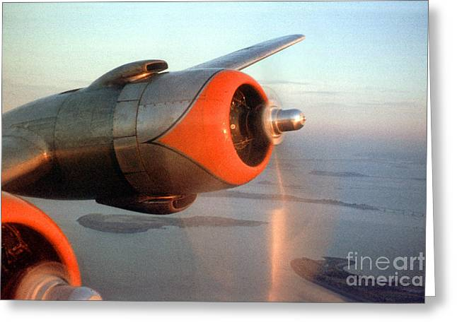 Fixed Wing Multi Engine Greeting Cards - American Airlines Douglas DC-6 Propellers in Flight Greeting Card by Wernher Krutein