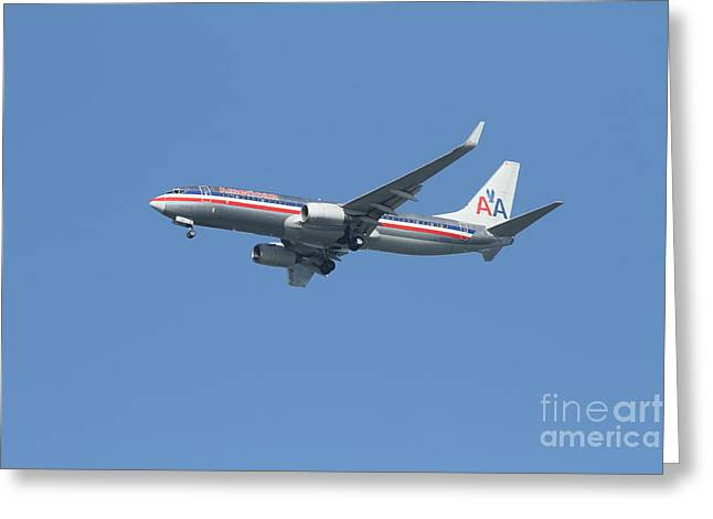 Landing Airplane Greeting Cards - American Airlines Jet 7D21917 Greeting Card by Wingsdomain Art and Photography