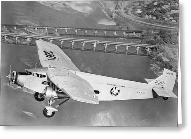 American Airlines Tri-Motor Greeting Card by Henri Bersoux