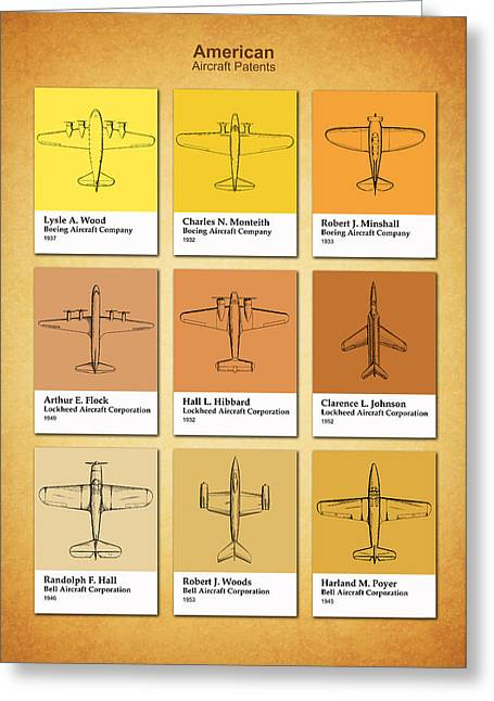 Airplane Greeting Cards - American Airplane Patents Greeting Card by Mark Rogan