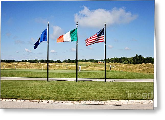 Wisconsin Golf Greeting Cards - American and Irish Flag Greeting Card by Scott Pellegrin