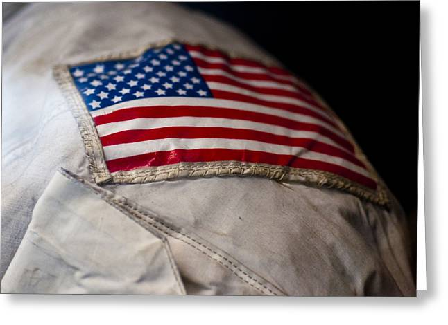 Man On The Moon Greeting Cards - American Astronaut Greeting Card by Christi Kraft