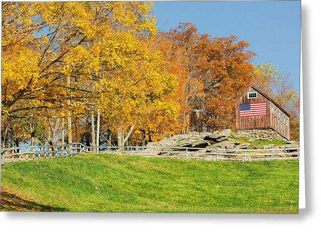 New England Greeting Cards - American Autumn Square Greeting Card by Bill  Wakeley