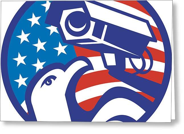 American Bald Eagle Security Camera Greeting Card by Aloysius Patrimonio