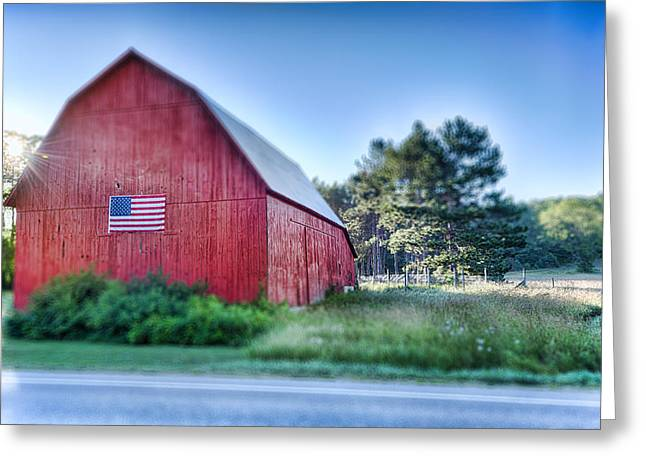 Prairies Greeting Cards - American Barn Greeting Card by Sebastian Musial
