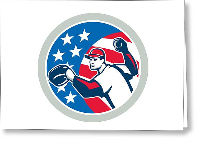 Baseball Glove Greeting Cards - American Baseball Pitcher Throwing Ball Retro Greeting Card by Aloysius Patrimonio