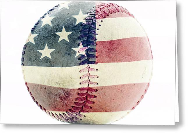 American Baseball Art Greeting Cards - American Baseball Greeting Card by Terry DeLuco