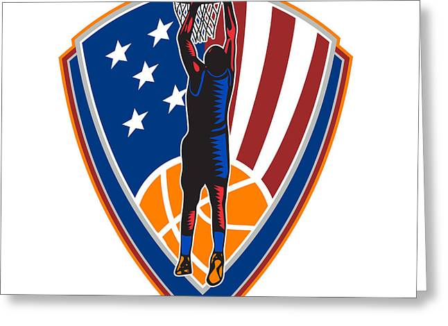 Lay Up Greeting Cards - American Basketball Player Dunk Ball Shield Retro Greeting Card by Aloysius Patrimonio